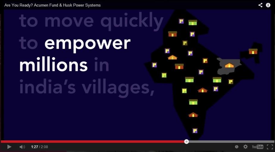(圖片來源:Acumen官方影片Are You Ready? Acumen Fund & Husk Power Systems)