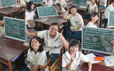 台中市光榮國中在課堂上實行「翻轉教室」(圖片來源:鍾敏豪提供)