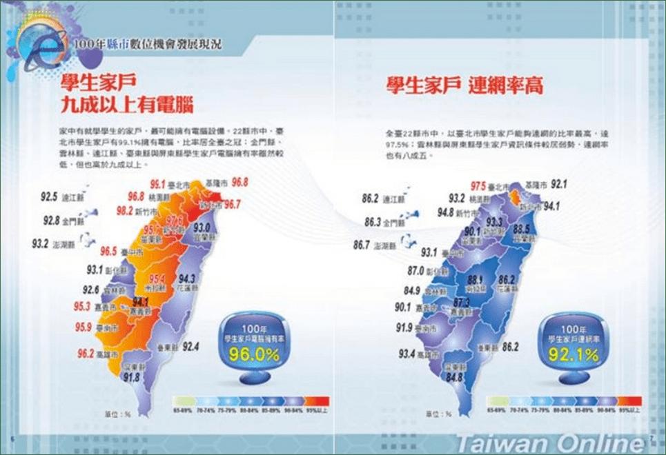 行政院研考會發表的「民國100年縣市數位機會發展現況」(圖片來源:鐘敏豪提供)