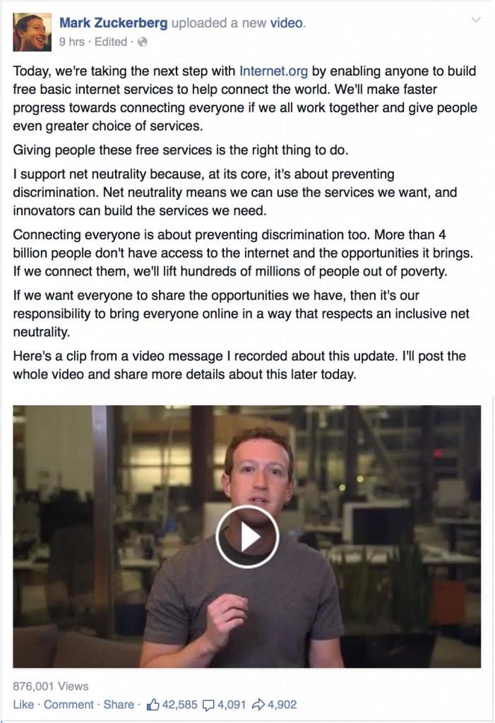 截圖自 Mark Zuckerberg 臉書
