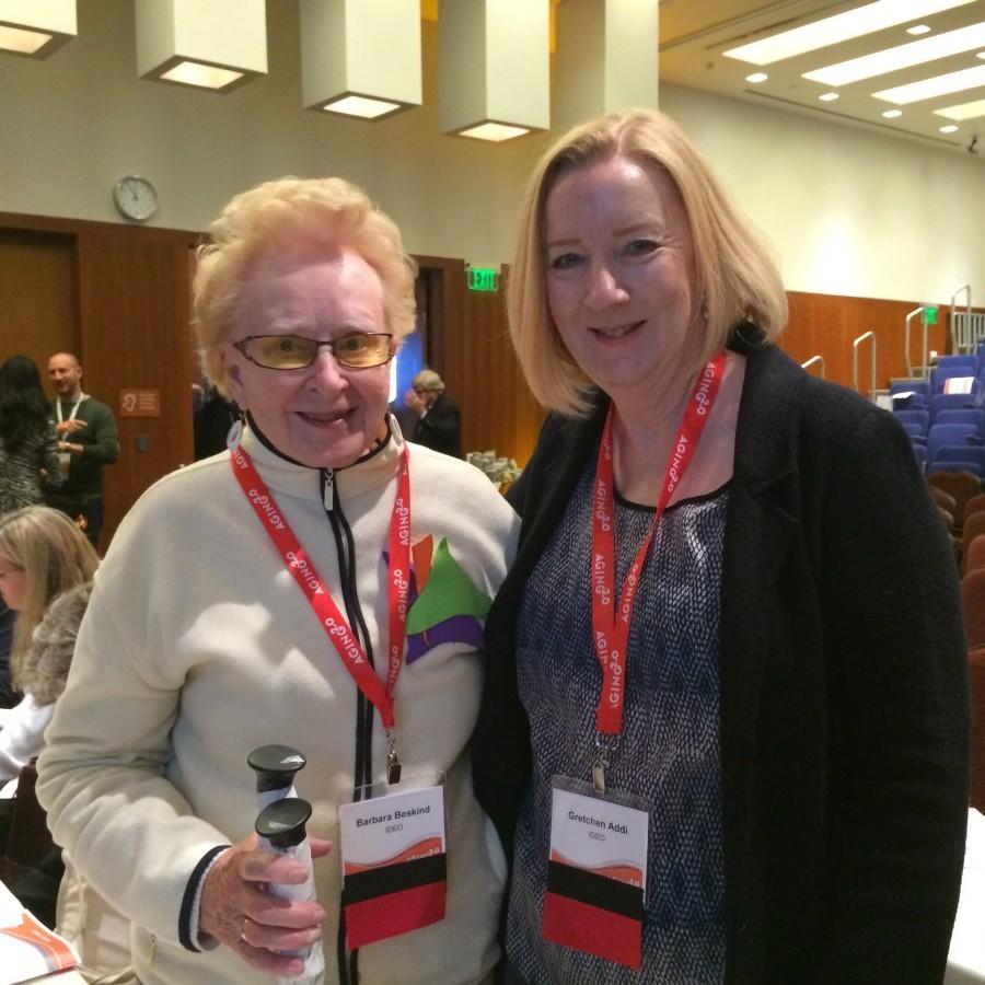 葛芮琴(右)和她的摯友、人生導師和工作上的好搭檔—高齡設計師芭芭拉(楊寧茵攝)