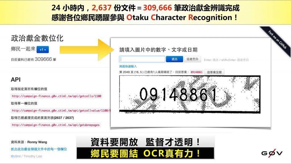 零時政府 g0v 透過資訊科技成功將政治獻金的資料數位化。
